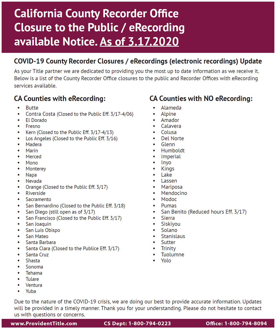 california country recorder office closure to the public/ erecording available notice. as of march 17, 2020