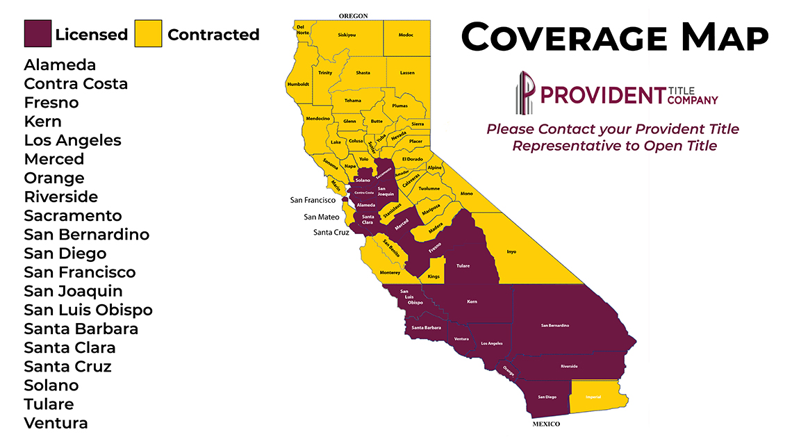 Provident Title Company Coverage Map