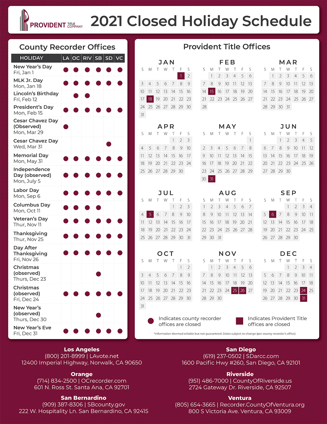 Provident Title Company 2021 Closed Holiday Schedule